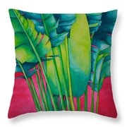Fan Palm With Pink Throw Pillow