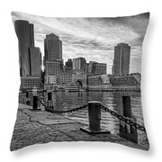 Fan Pier Boston Harbor Bw Throw Pillow