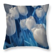 Fanciful Tulips In Blue Throw Pillow