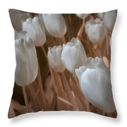 Fanciful Tulips In Peach Throw Pillow