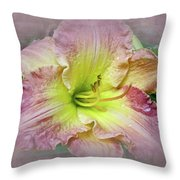 Fancy Daylily In Pink And Yellow Throw Pillow