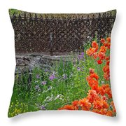 Fancy Foot Bridge And Poppies Throw Pillow by Stephanie Calhoun