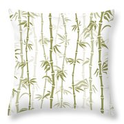 Fancy Japanese Bamboo Watercolor Painting Throw Pillow