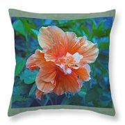 Fancy Peach Hibiscus Throw Pillow