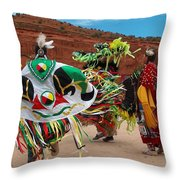 Fancy Shawl Dancer At Star Feather Pow-wow Throw Pillow