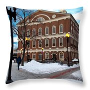 Faneuil Hall Winter Throw Pillow