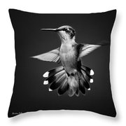 Fantail Hummingbird Square Bw Throw Pillow