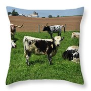 Fantastic Farm On A Spring Day With Cows Throw Pillow