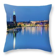 Fantastic Stockholm And Gamla Stan Reflection From A Distant Bridge Throw Pillow