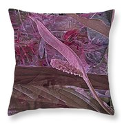 Fantasy African Violets And Peace Lily Pink, Red And Pink Throw Pillow