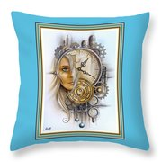Fantasy Art - Time Encaptulata For A Woman's Face, Clock, Gears And More. L A S With Ornate Frame. Throw Pillow