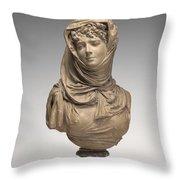 Fantasy Bust Of A Veiled Woman (marguerite Bellanger?) Throw Pillow
