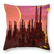 Fantasy City - 3d Render Throw Pillow