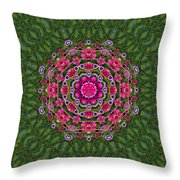 Fantasy Floral Wreath In The Green Summer  Leaves Throw Pillow