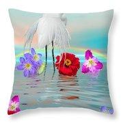 Fantasy Stork-flowers-rainbow On Ocean Throw Pillow