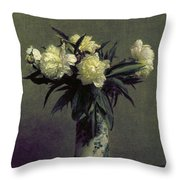 Fantin-latour: Peonies, 1872 Throw Pillow