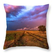 Far And Away - Open Prairie Under Colorful Sky In Oklahoma Panhandle Throw Pillow