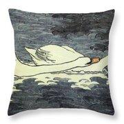 Farbiger Holzschnitt Zwei Schw Ne 1902 Throw Pillow