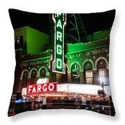 Fargo Nd Theatre At Night Picture Throw Pillow
