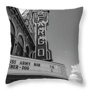 Fargo Theater Sign Black And White  Throw Pillow