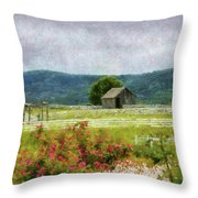 Farm - Barn - Out In The Country  Throw Pillow by Mike Savad