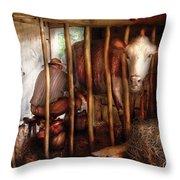 Farm - Cow - Milking Mabel Throw Pillow