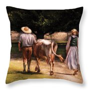 Farm - Cow - Time For Milking  Throw Pillow