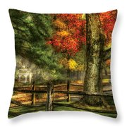 Farm - Fence - On A Country Road Throw Pillow