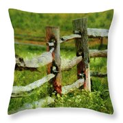 Farm - Fence - The Old Fence Post  Throw Pillow