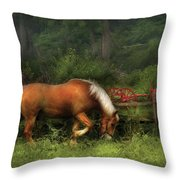 Farm - Horse - In The Meadow Throw Pillow