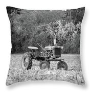 Farm All In  Corn Field Blsck And White Throw Pillow
