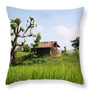 Farm And A Hut Throw Pillow