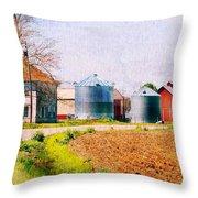 Farm Around The Corner Throw Pillow