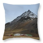 Farm At The Base Of Mt Stapafell Throw Pillow