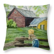 Farm Boy Throw Pillow