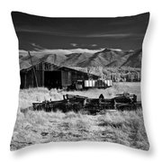 Farm Building In Infrared Throw Pillow
