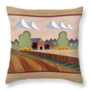 Farm By Ripon-marquetry Throw Pillow
