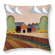 Farm By Ripon -marquetry-image Throw Pillow