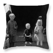 Farm Children And Flag Throw Pillow