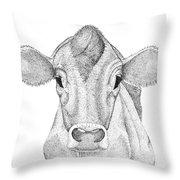 Farm Cow In Pointillism Throw Pillow
