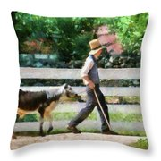 Farm - Cow -the Farmer And The Dell  Throw Pillow