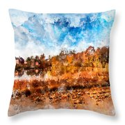 Farm Fall Colors Watercolor Throw Pillow by Michael Colgate