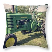 Farm Green Tractor Vintage Style Throw Pillow