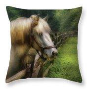 Farm - Horse - White Stallion Throw Pillow