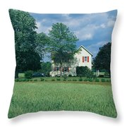 Farm House And Spring Field, Maryland Throw Pillow