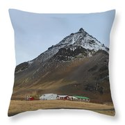 Farm Houses At The Base Of Mt Stapafell In Iceland Throw Pillow