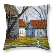 Farm In Berthierville Throw Pillow