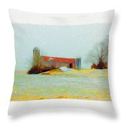 Farm In The Country Throw Pillow
