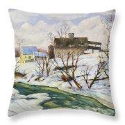 Farm In Winter Throw Pillow