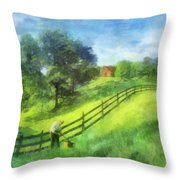 Farm On The Hill Throw Pillow